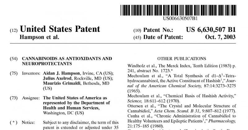 US marijuana patent 6630507